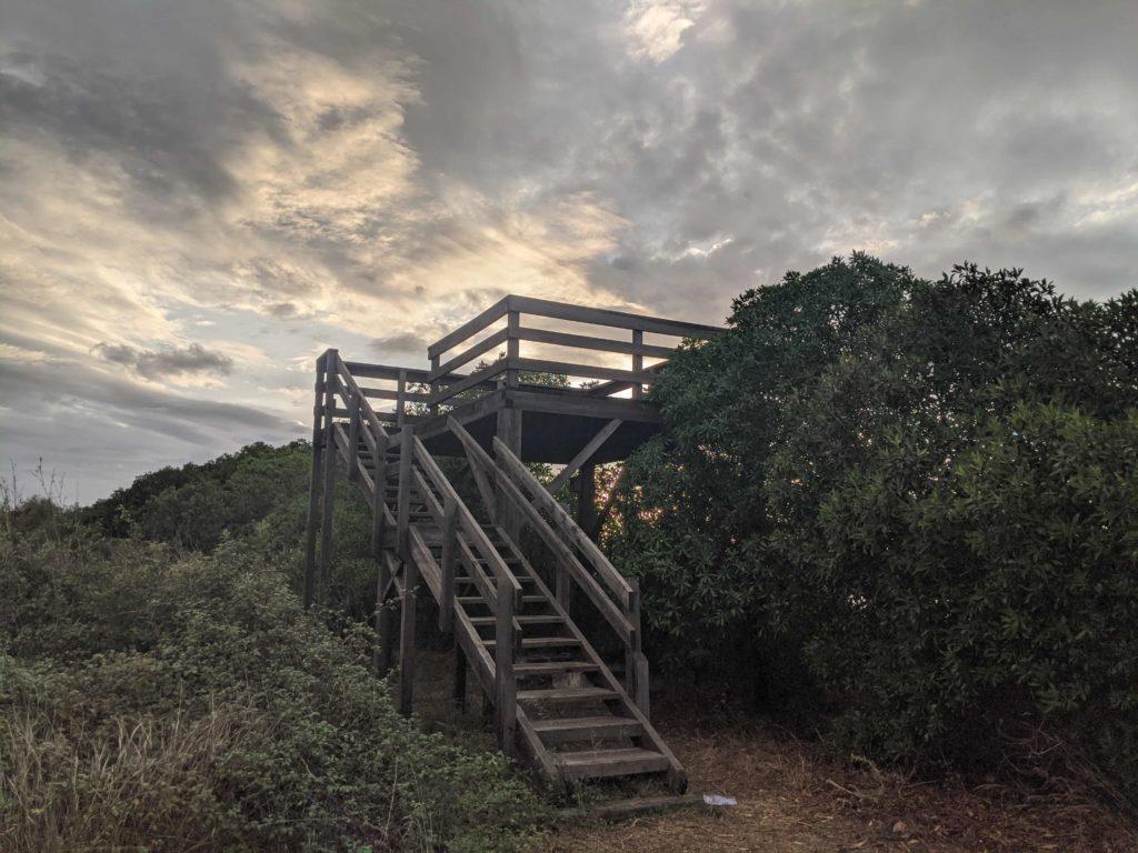 Torre de observación en la depuradora de la Albufera de Mallorca